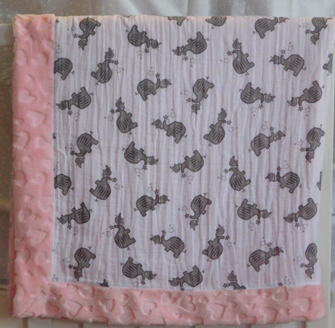 Pink Momma & Baby Elephant Minky-Gauze Blanket