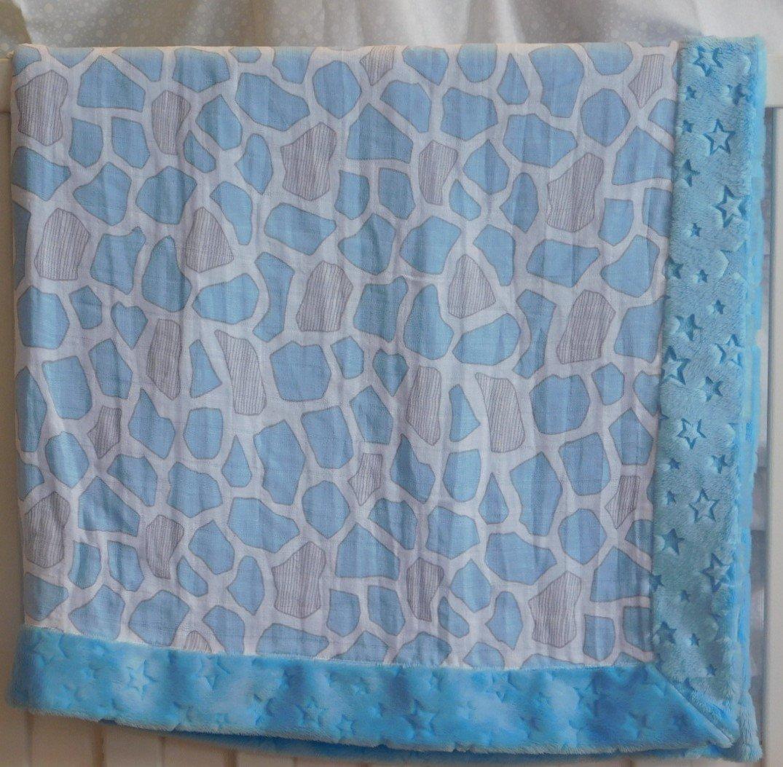 Blue Giraffe Spots Minky-Gauze Blanket
