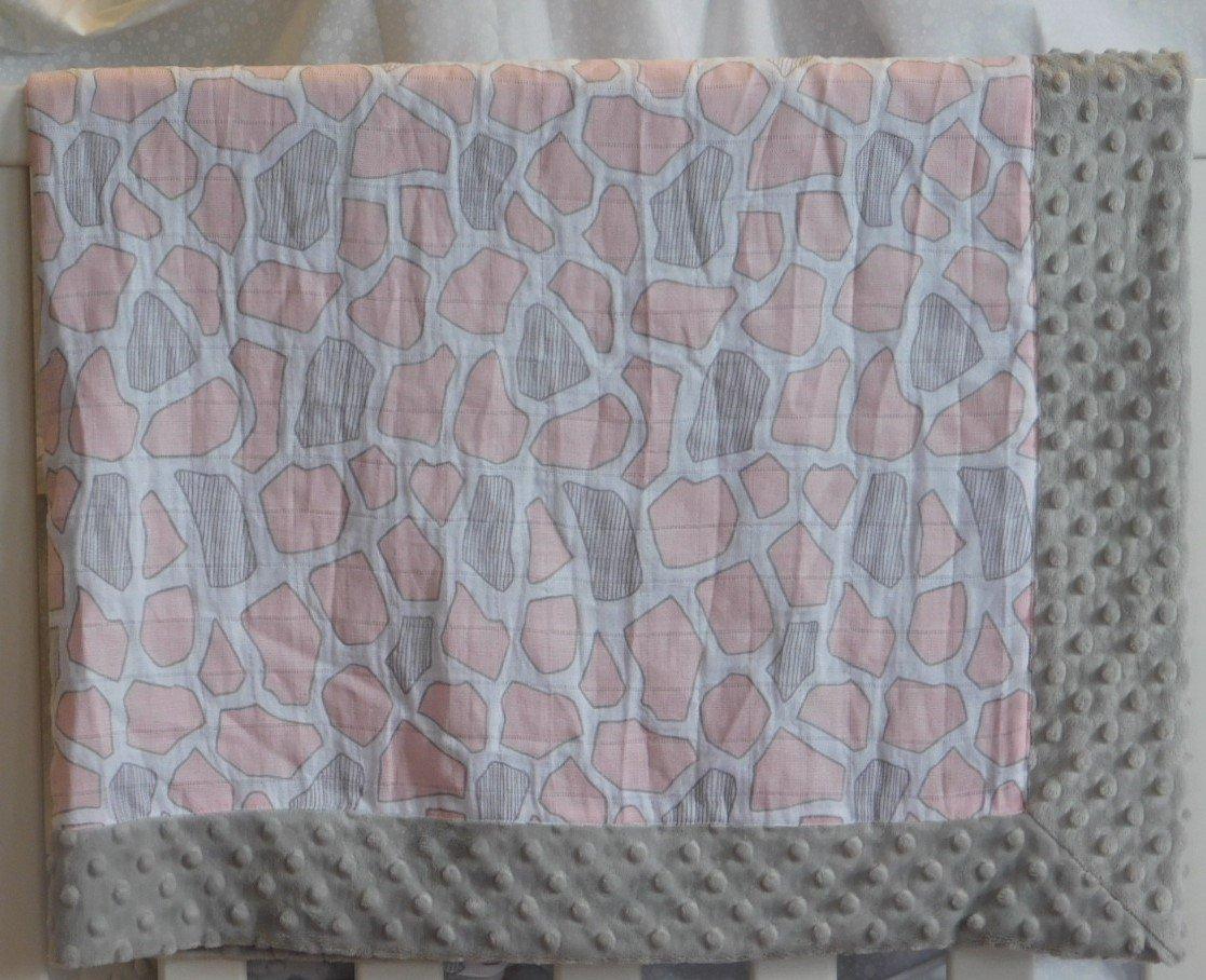 Gray Giraffe Spots Minky-Gauze Blanket
