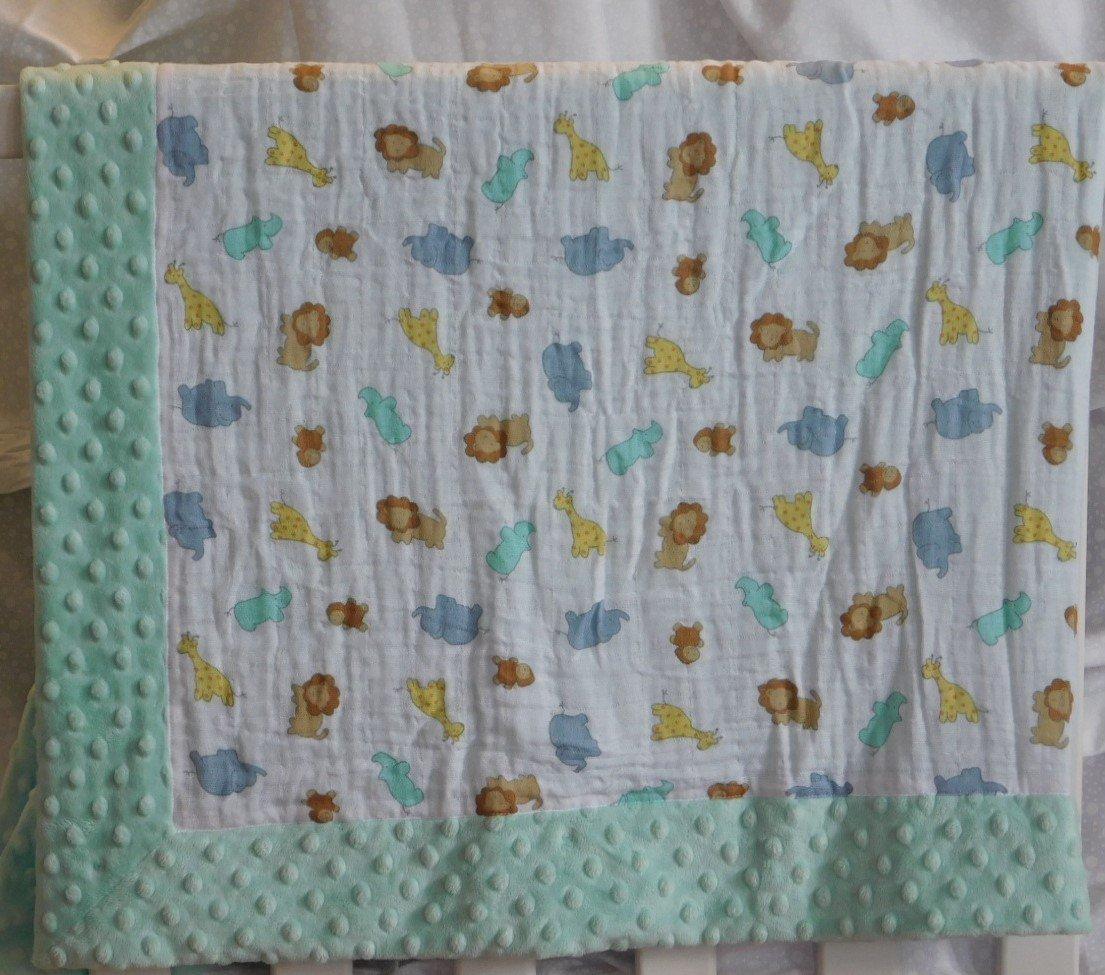 Mint Green Zoo Animals Minky-Gauze Blanket