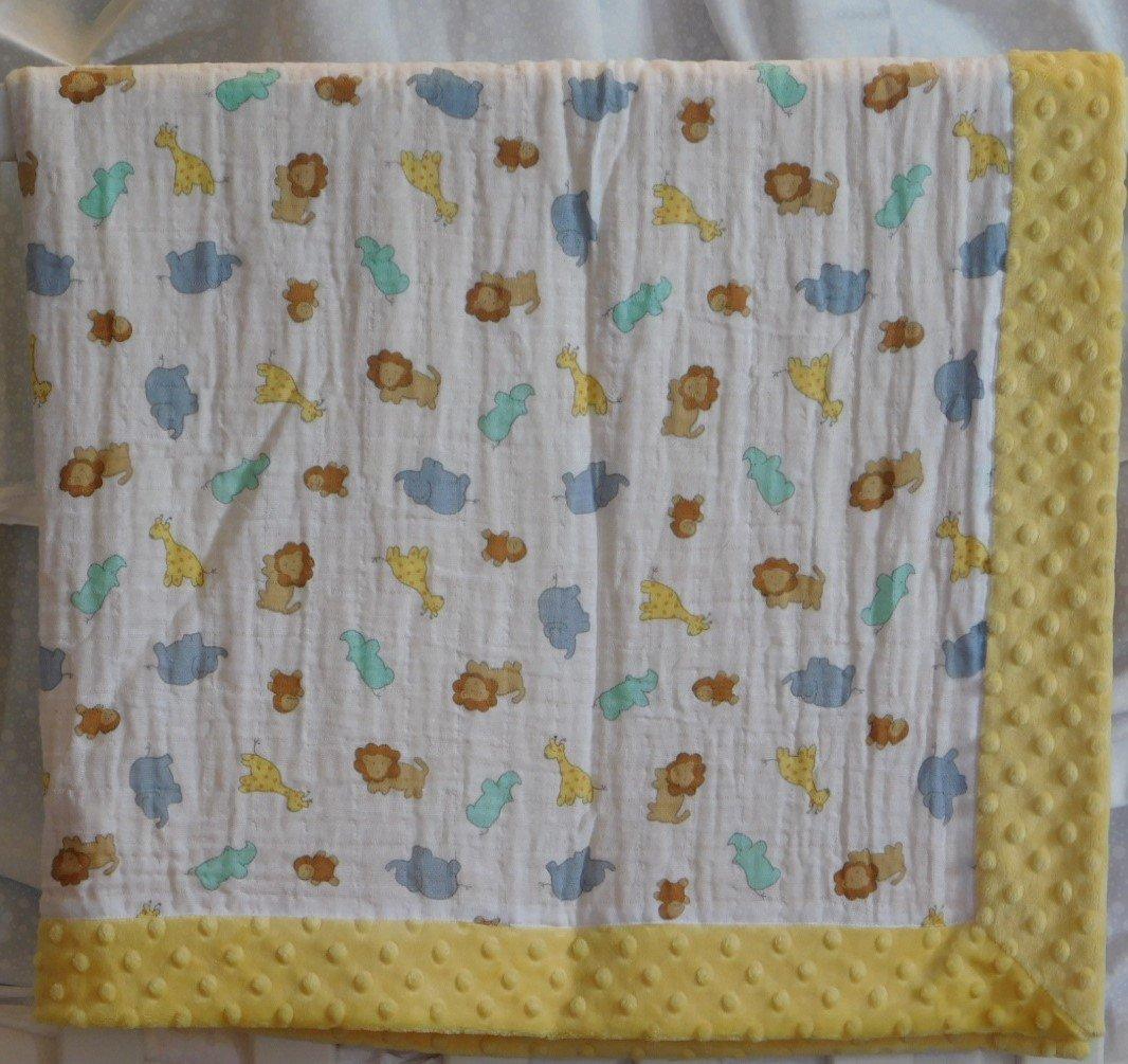 Yellow Zoo Animals Minky-Gauze Blanket