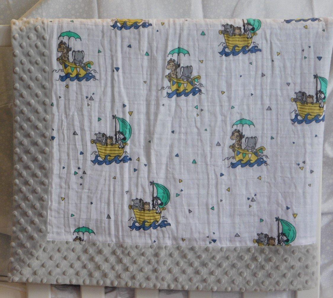 Gray Noah's Ark Minky-Gauze Blanket