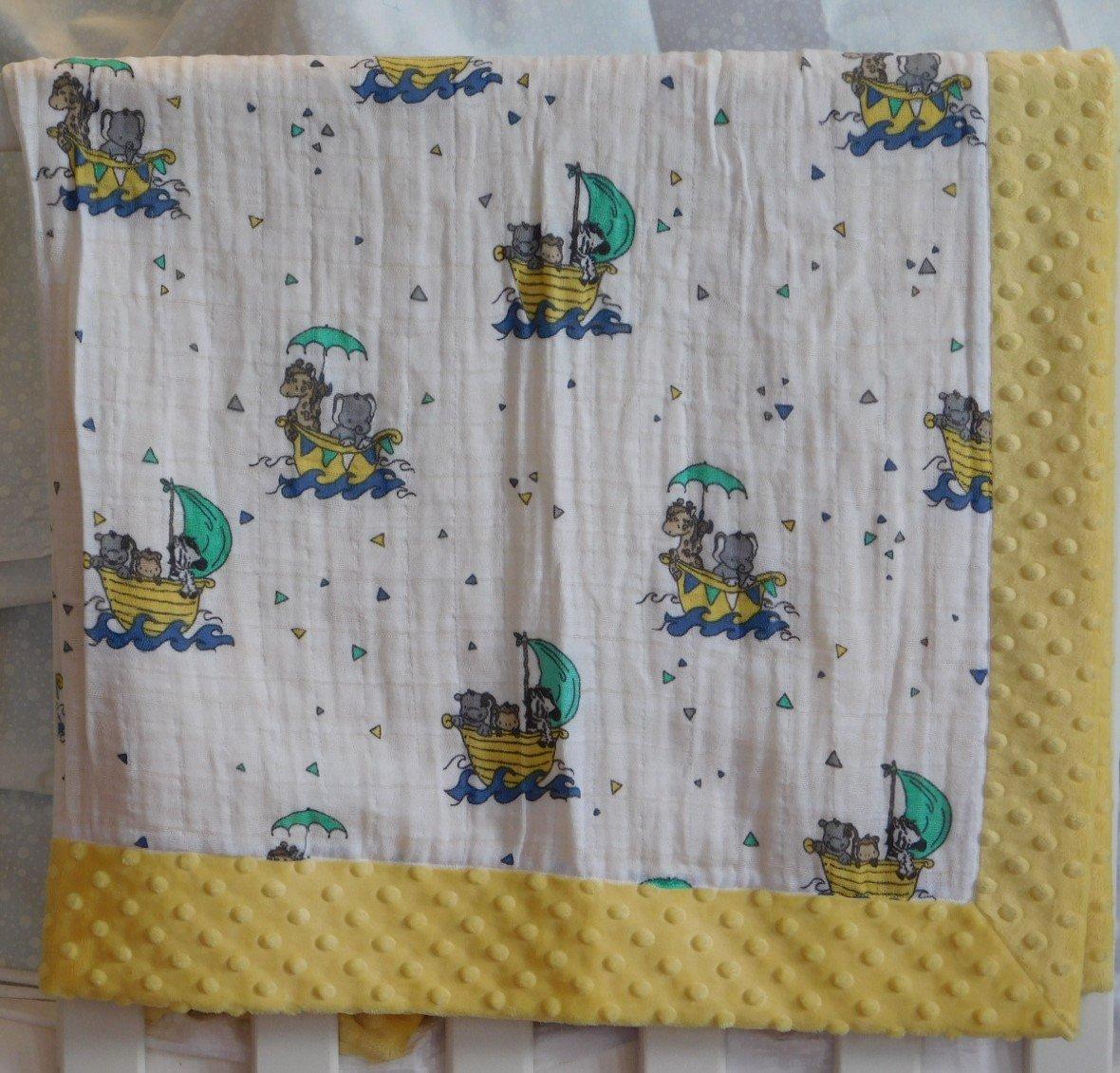 Yellow Noah's Ark Minky-Gauze Blanket