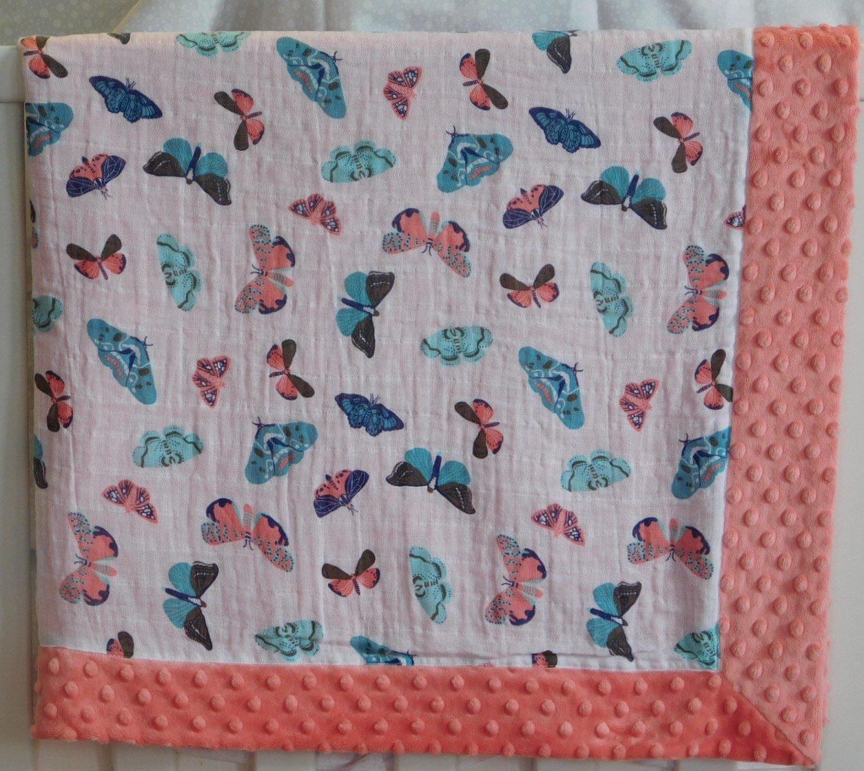 Coral Butterflies Minky-Gauze Blanket