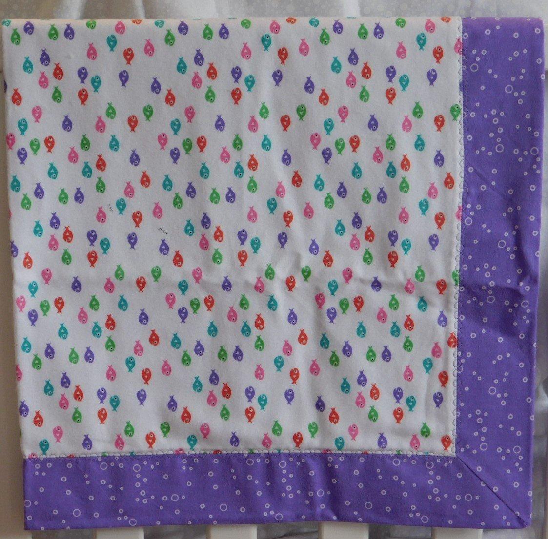 Purple Guppies Flannel Baby Blanket