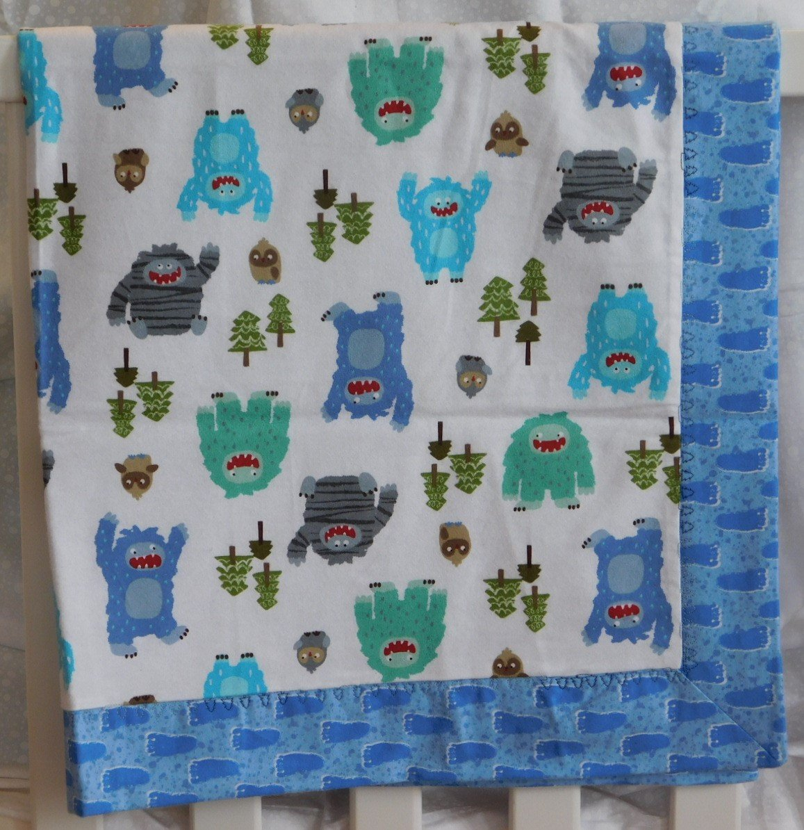 Blue Big Foot Flannel Baby Blanket