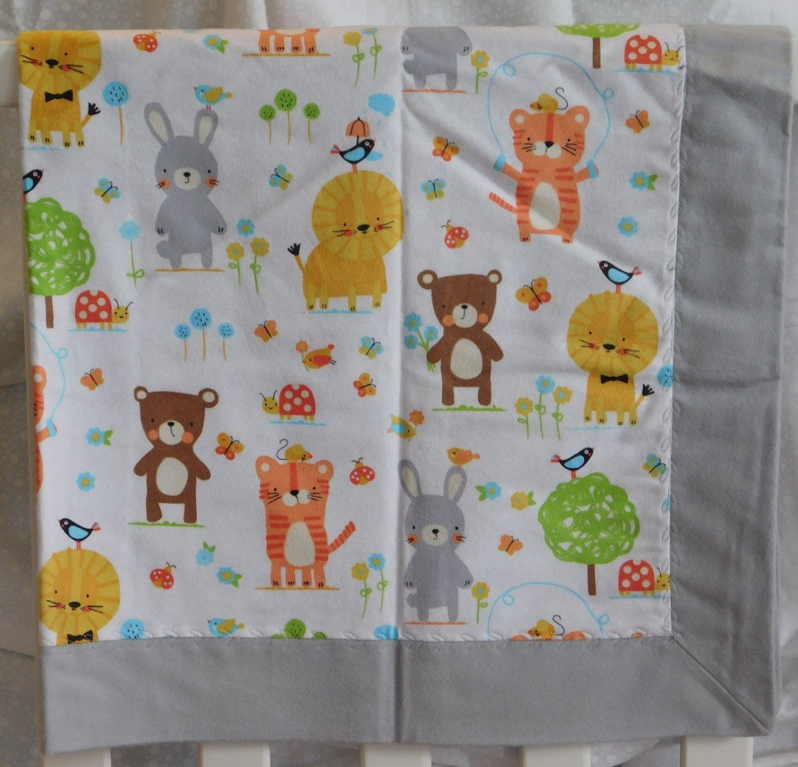Gray Woodland Animals Flannel Baby Blanket
