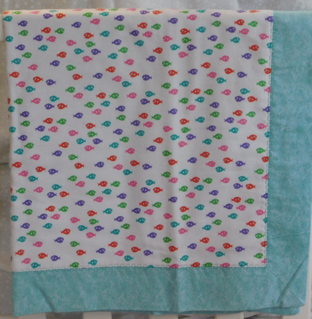 Aqua Guppies Flannel Baby Blanket