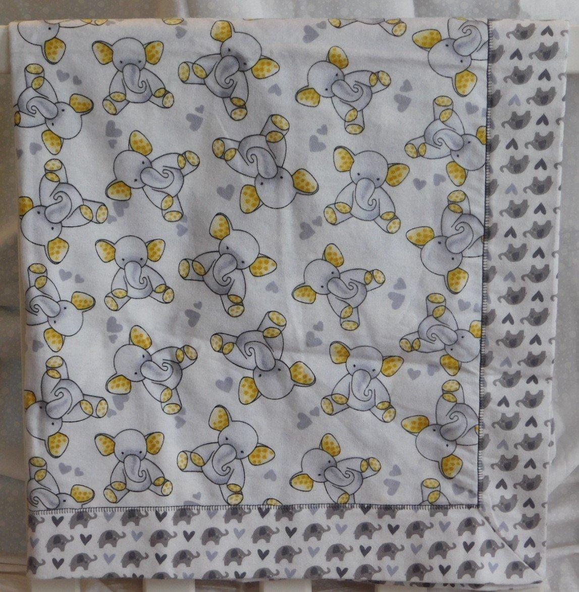 Gray & Yellow Ear Elephants Flannel Baby Blanket