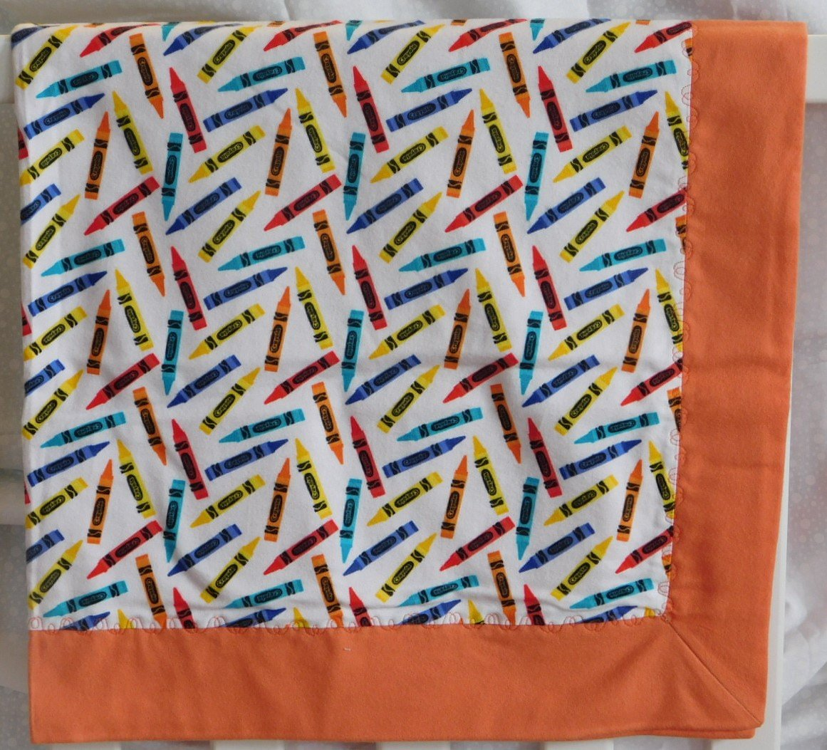 Coral Crayons Flannel Baby Blanket