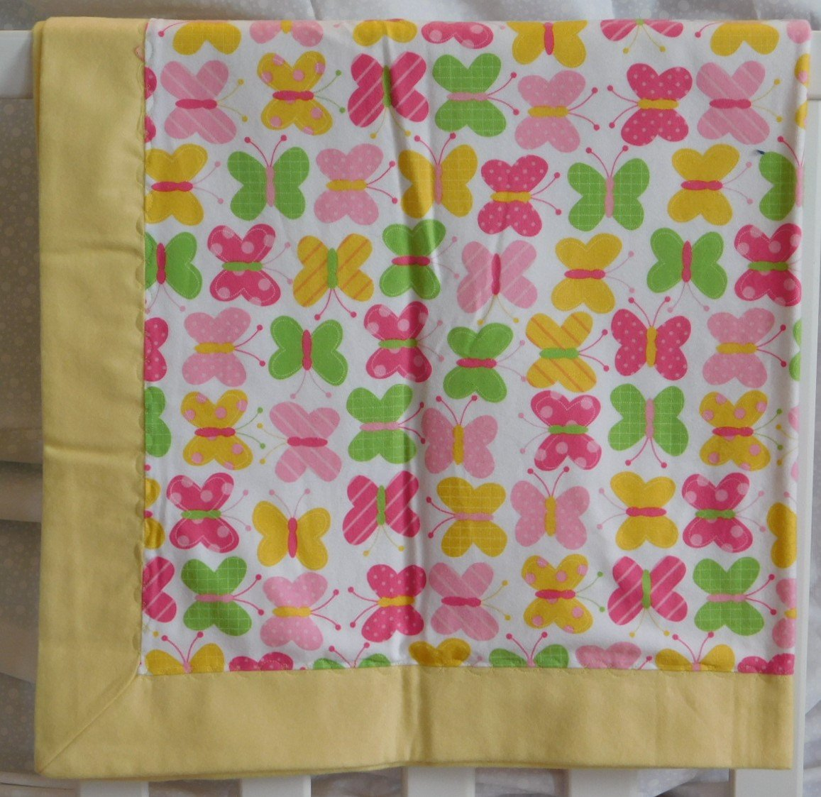 Yellow Butterflies Flannel Baby Blanket