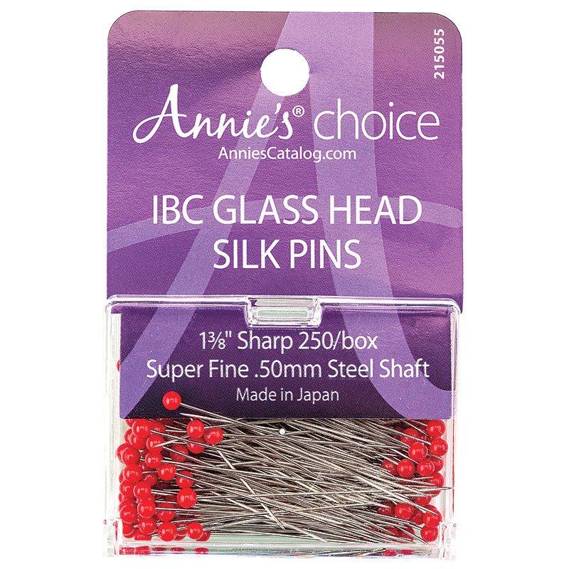 IBC Glass Head Silk Pins 1 3/8