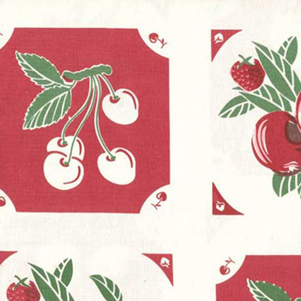 16 Vintage Toweling Fabric - Red Granny Fruit
