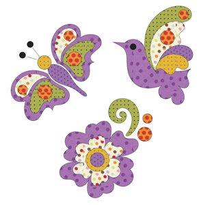 Bird, Butterfly & Flower Purple Set Applique kit