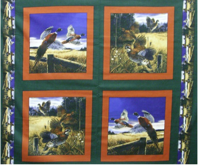 Beautiful Pheasants Wallhanging Panel