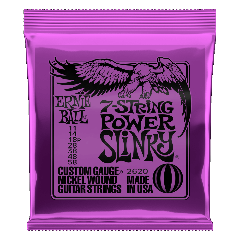 Ernie Ball 2620 Power Slinky 7-String Nickle Wound Electric Guitar Strings 11-58 Gauge