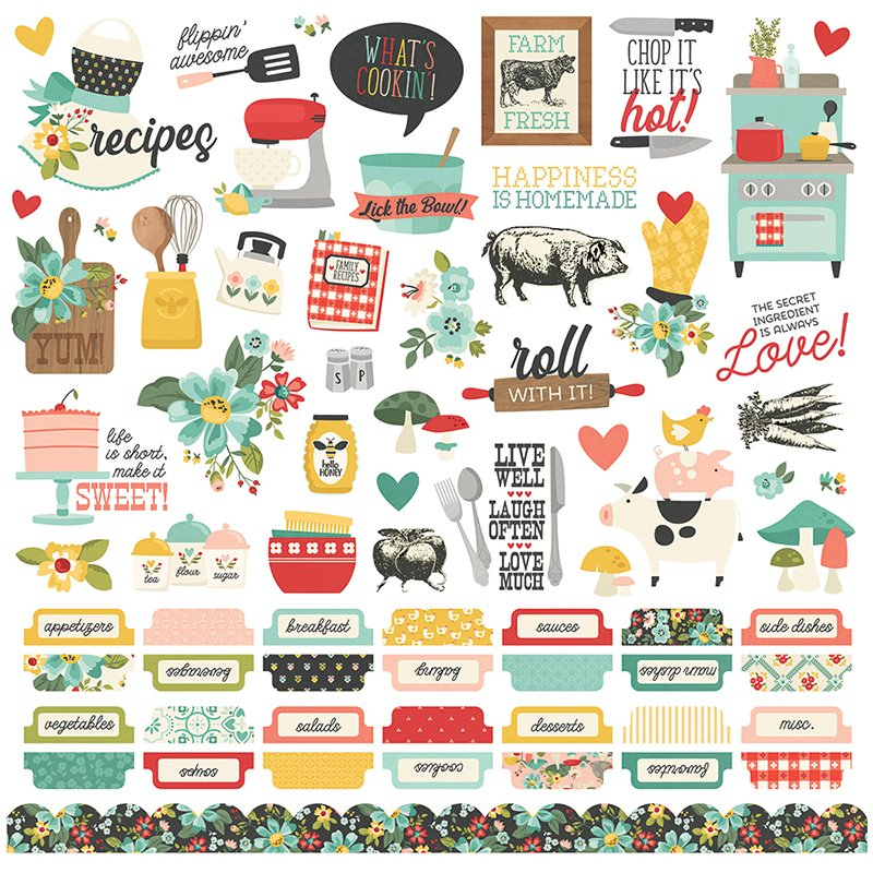APRON STRINGS 12X12 CARDSTOCK STICKERS