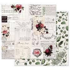 MIDNIGHT GARDEN ROSE RECEIPTS 12X12 PAPER