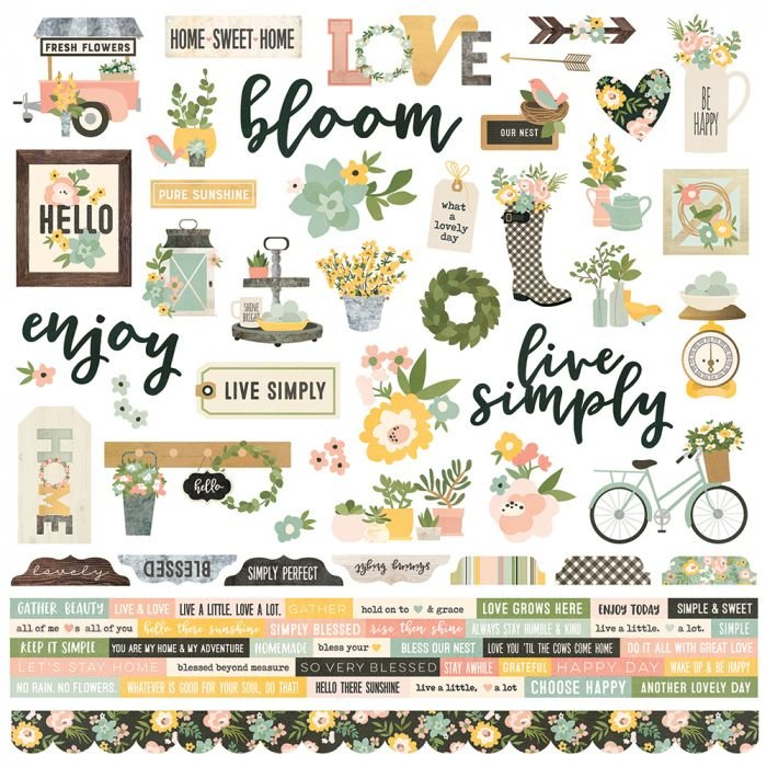 SPRING FARMHOUSE - COMBO CARDSTOCK STICKERS