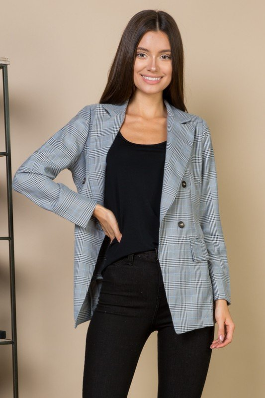 Plaid Double Breasted Blazer Jacket Grey