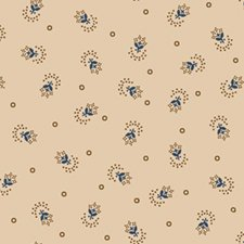 Tulip Dot in light print with blue & tan motif  0814