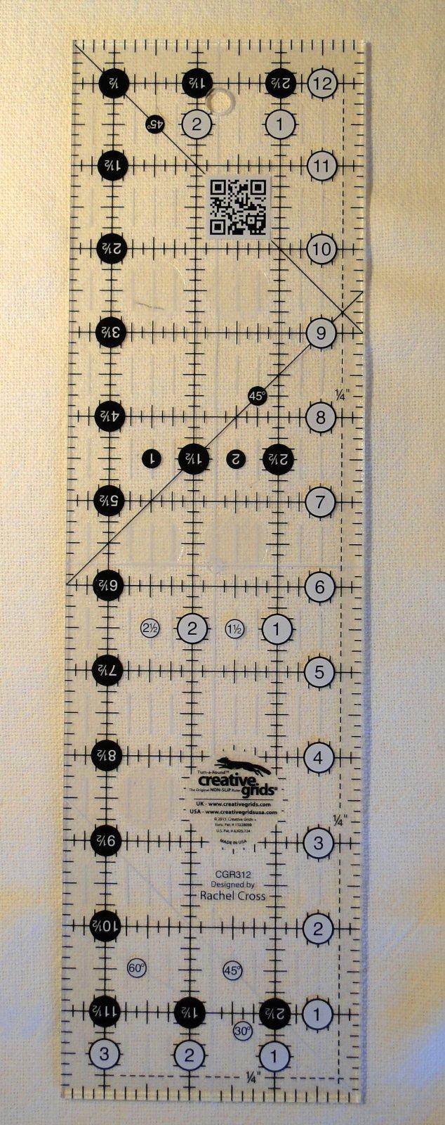 3.5 x 12.5 inch Creative Grids Non-Slip Ruler