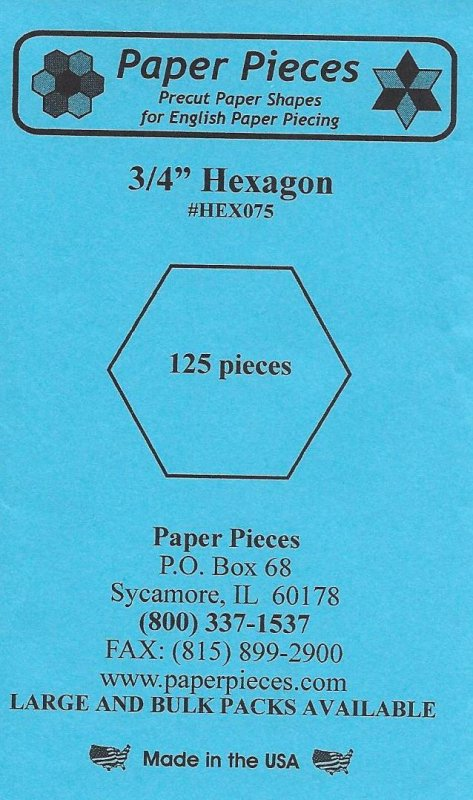 Hexagon Paper Pieces ~ 3/4 inch