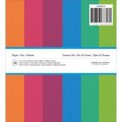 American Crafts Textured Cardstock Pad 6X6 36/Pkg Brights, 6 Colors/6 Each