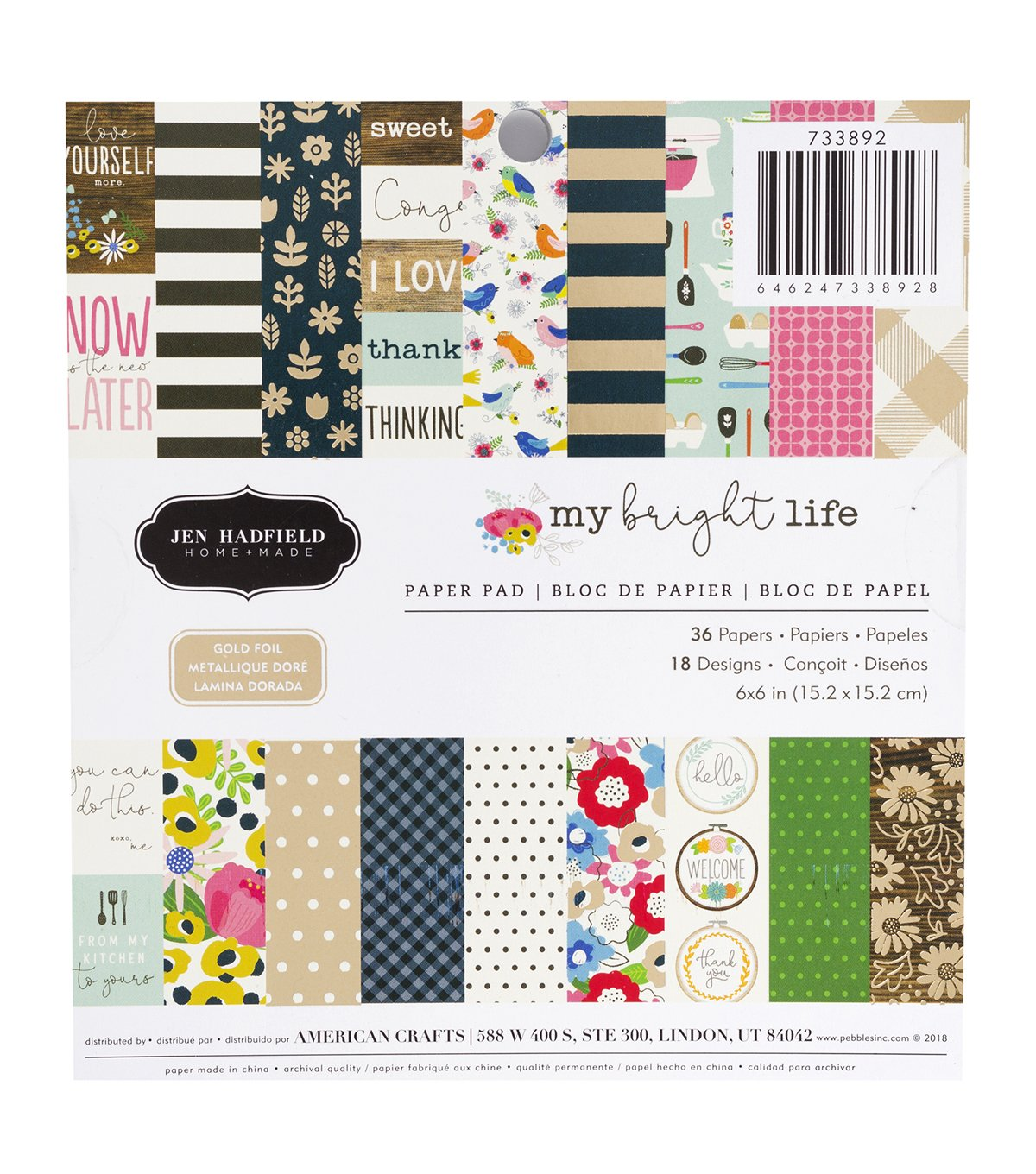 American Crafts 6x6 Paper Pad My Bright Life