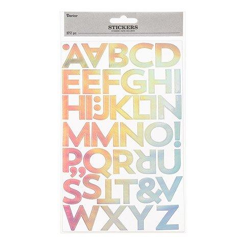 Darice Alphabet Sticker  Pearlized Rainbow Foil