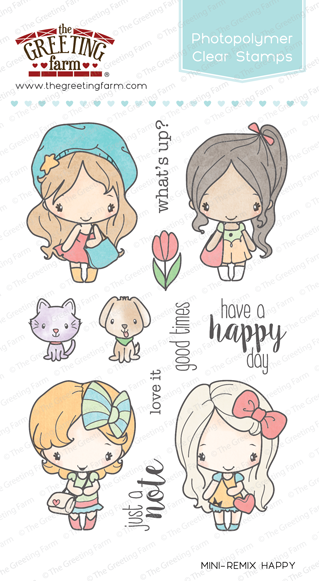 The Greeting Farm Clear Stamps Mini-Remix Happy