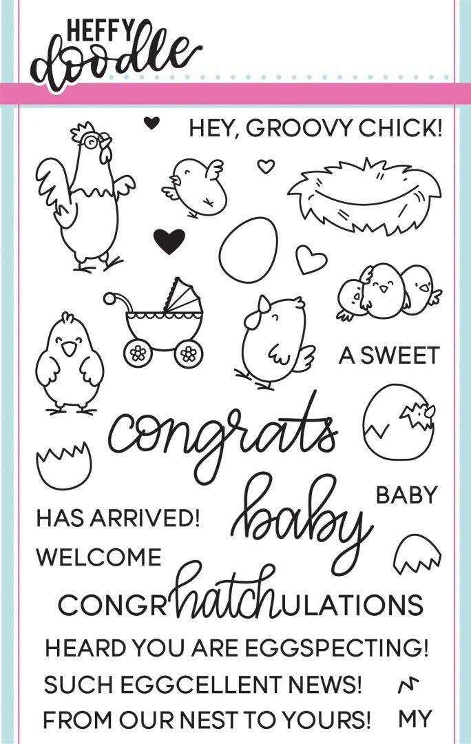Heffy Doodle Stamp Set: Eggcellent News