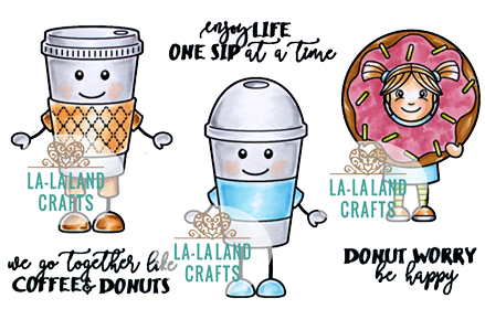 La-La Land Crafts Rubber Stamps: Coffee Buddies