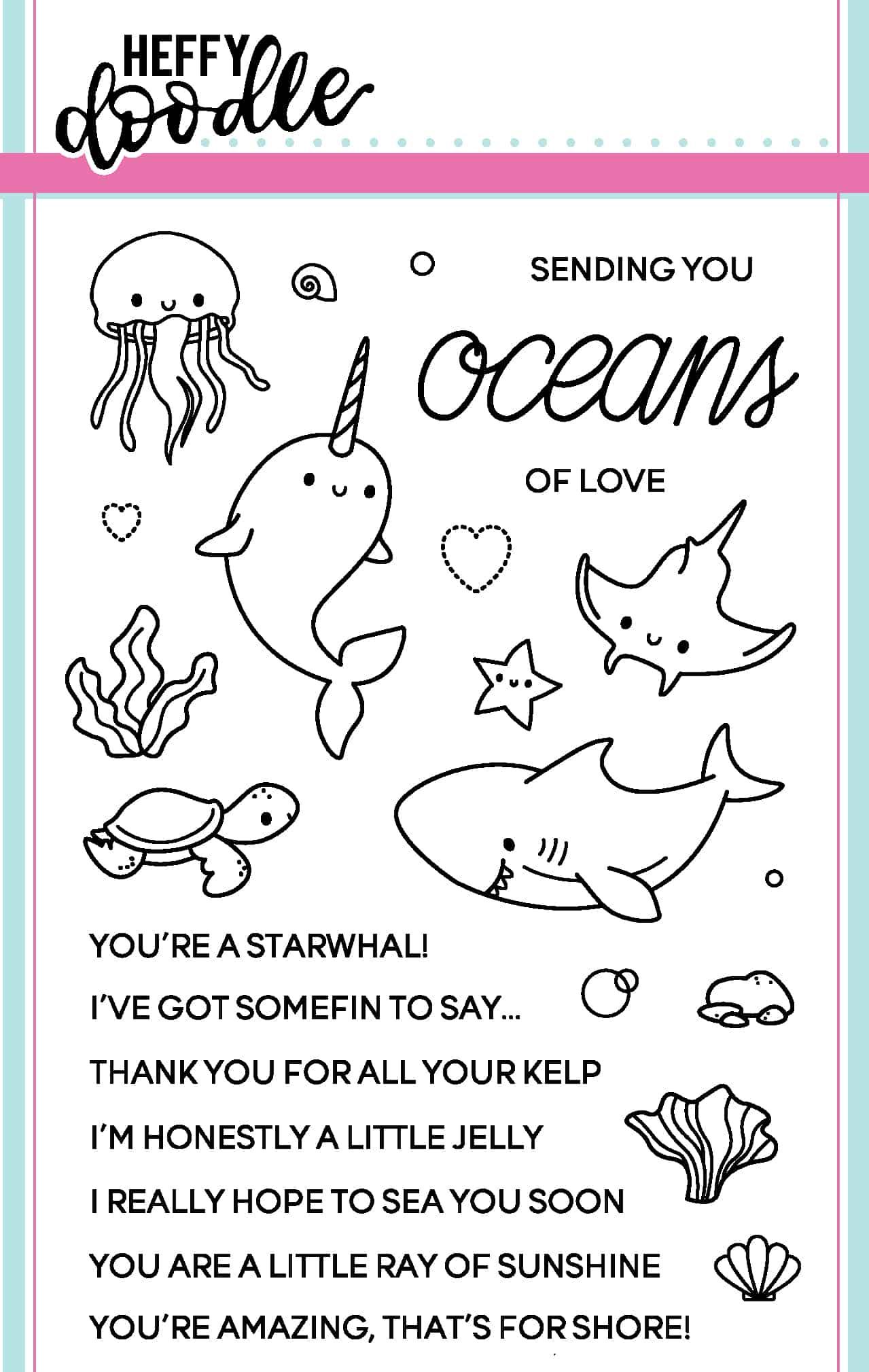Heffy Doodle Clear Stamp Set: Oceans of Love