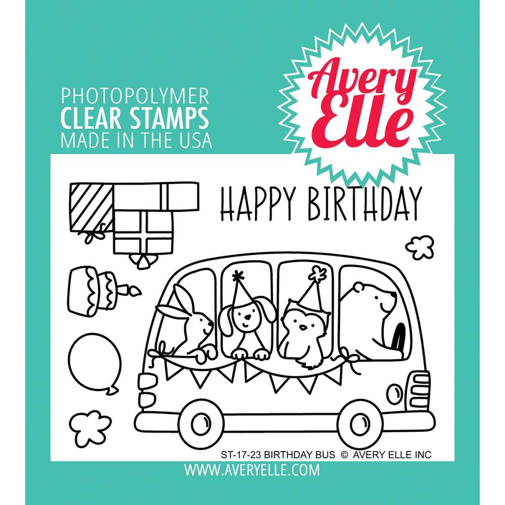 Avery Elle Clear Stamps Birthday Bus