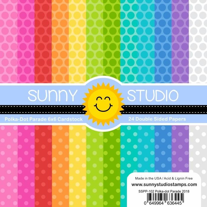 Sunny Studio POLKA-DOT PARADE 6X6 PAPER