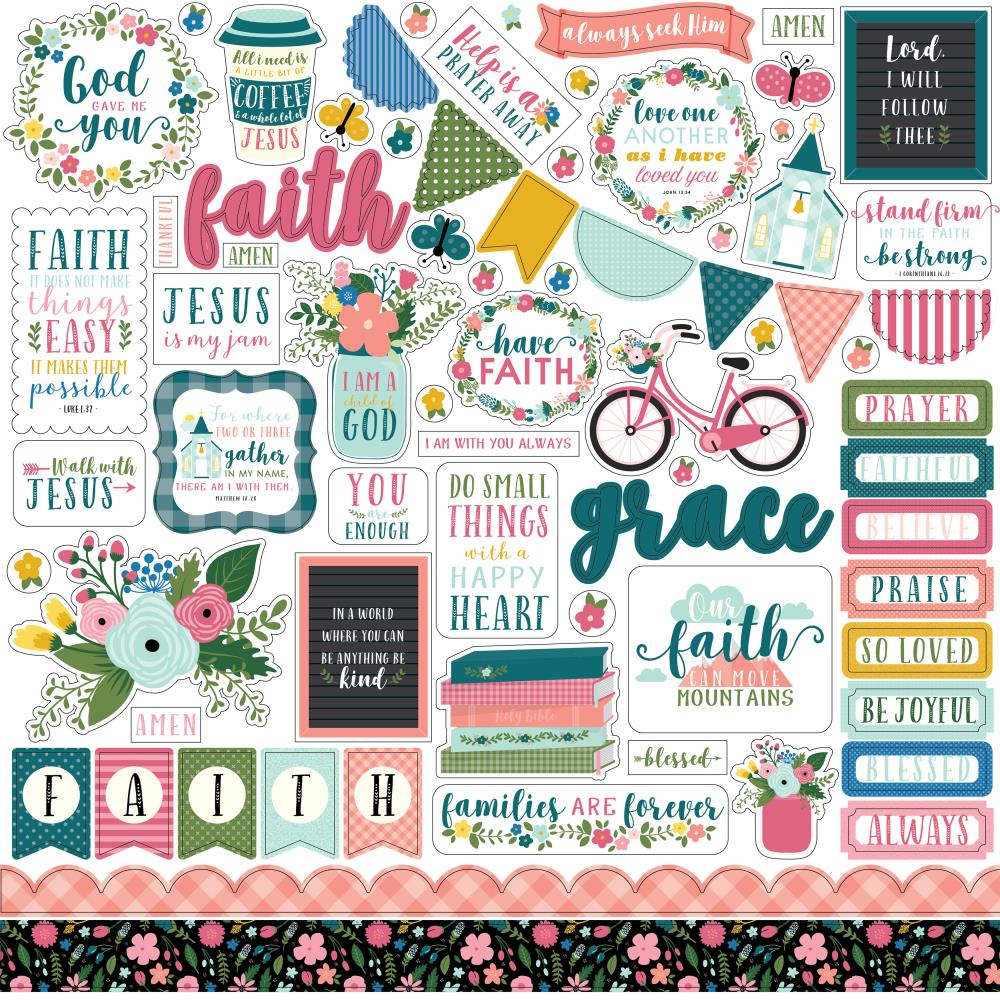 Echo Park 12x12 Cardstock Stickers: Have Faith