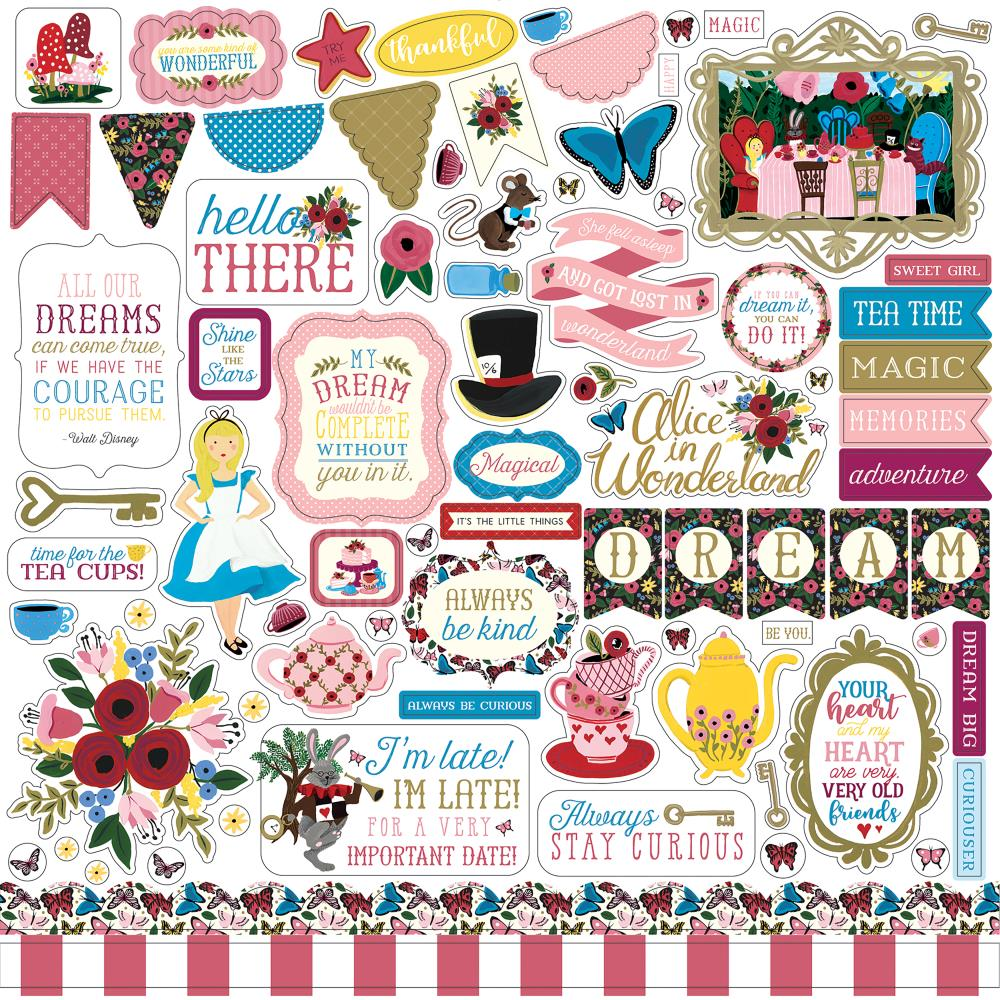 Echo Park 12x12 Cardstock Stickers: Alice in Wonderland