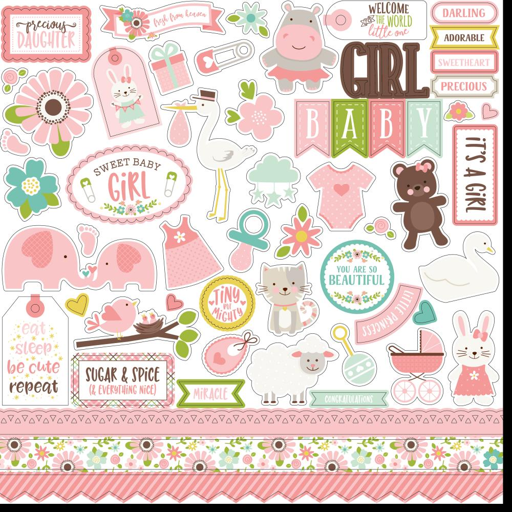 Echo Park 12x12 Cardstock Stickers: Sweet Baby Girl