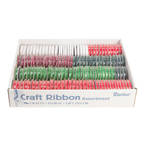 Darice Craft Ribbon Assorted Christmas Colors White 1/8