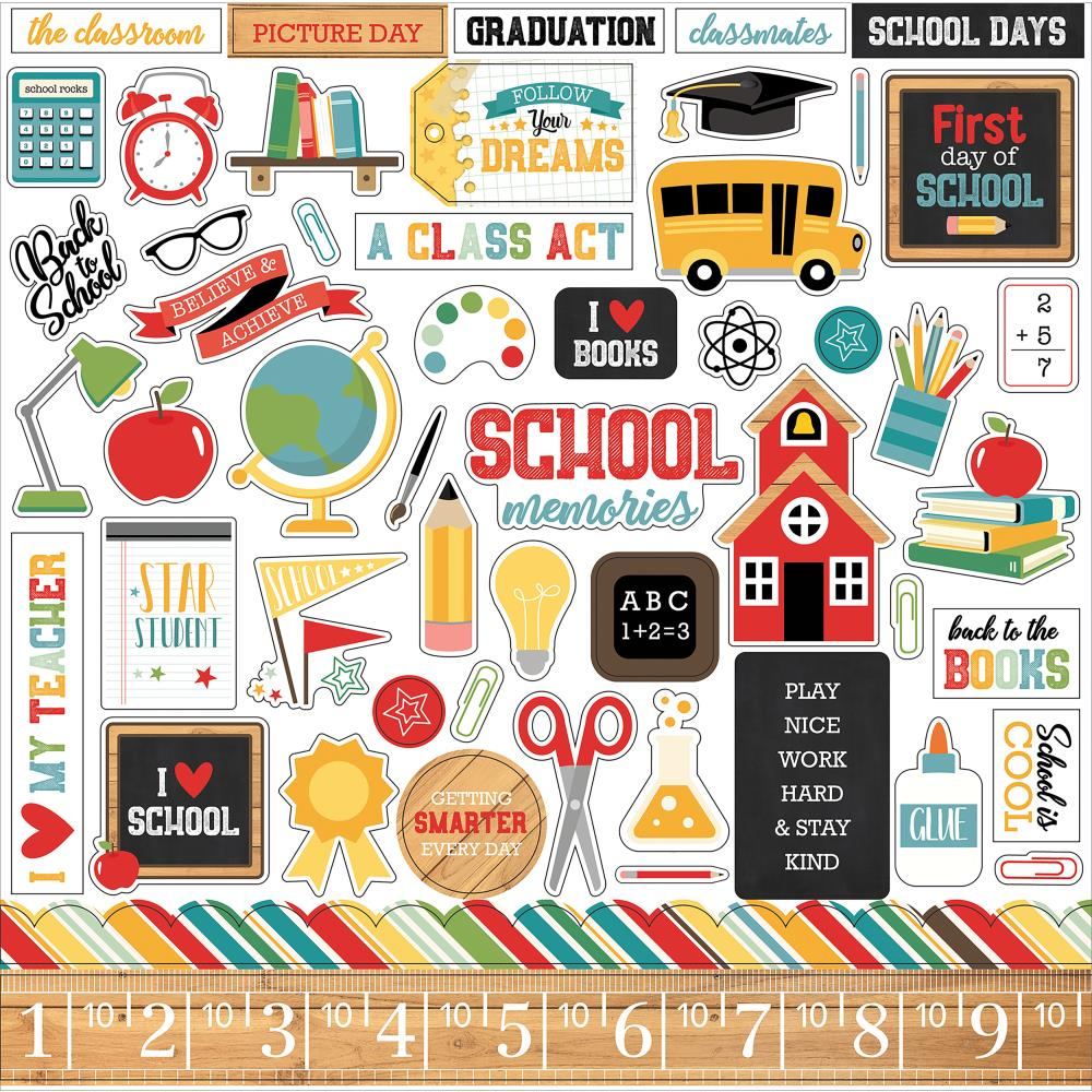 Echo Park 12x12 Cardstock Stickers: Back to School
