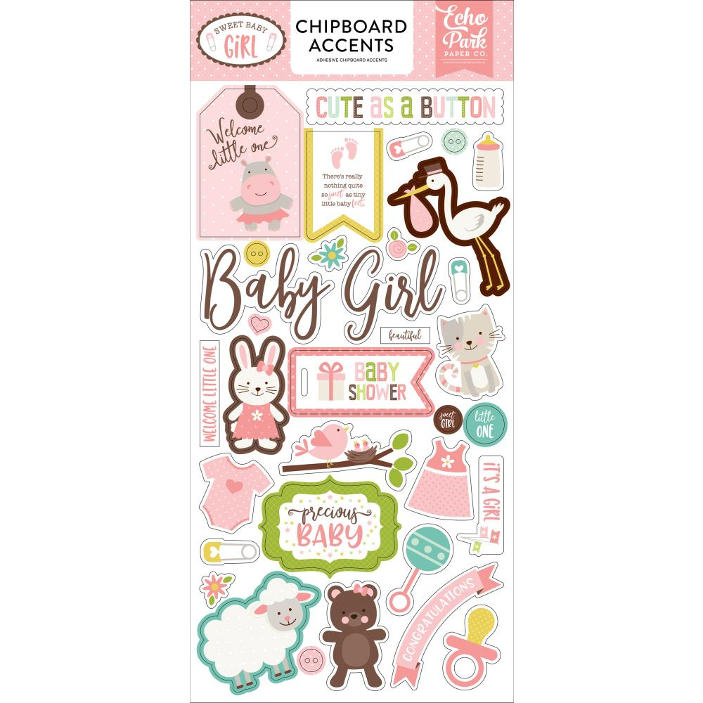 Echo Park Chipboard Accents: Sweet Baby Girl