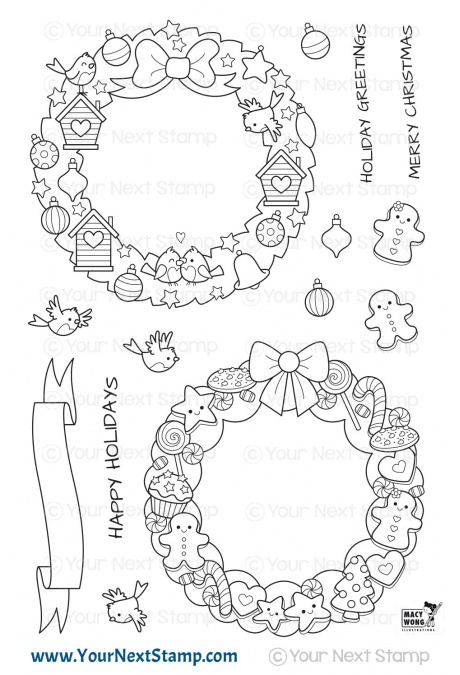 Your Next Stamp Clear Stamp Set: Holiday Wreaths