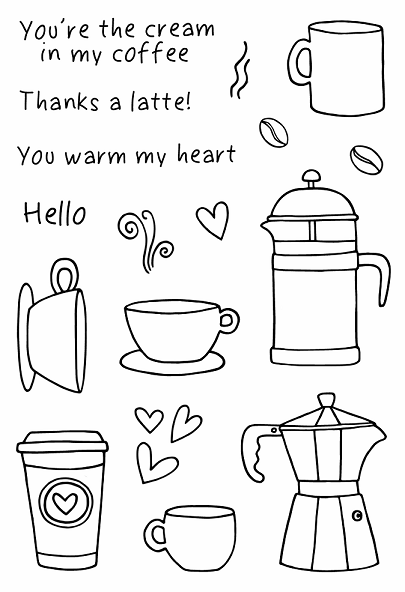 Jane's Doodles Clear Stamps Coffee Time