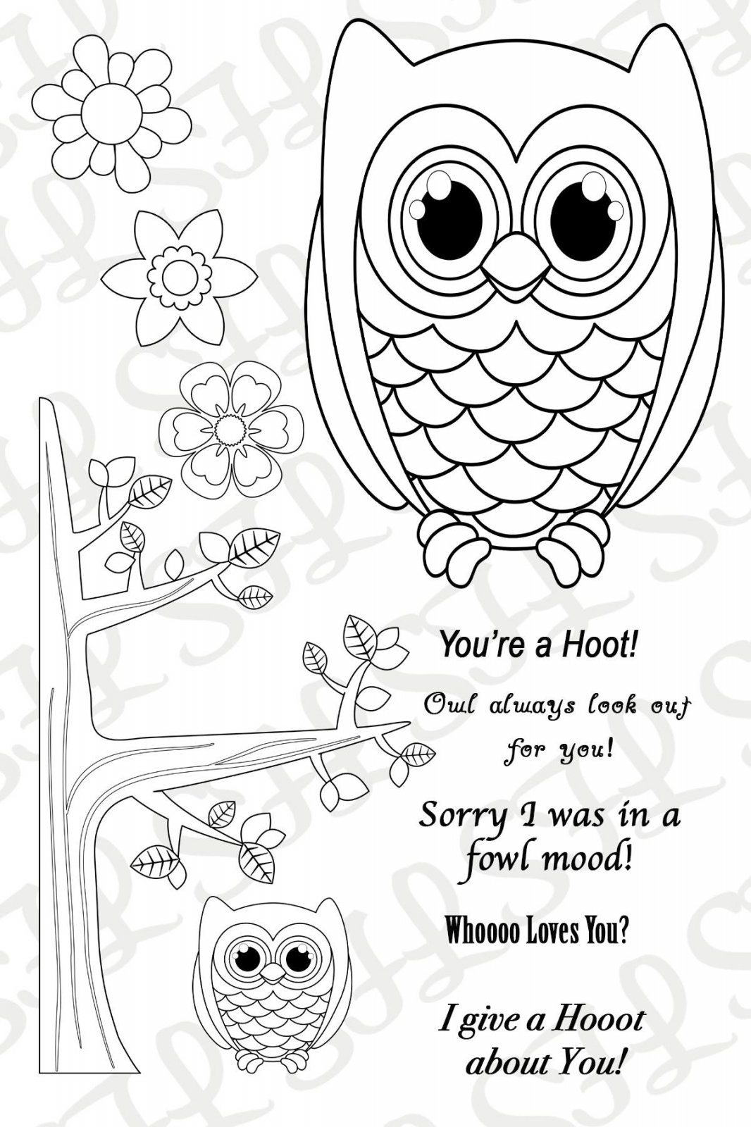 Scrapping for Less Clear Stamps Give a Hoot?