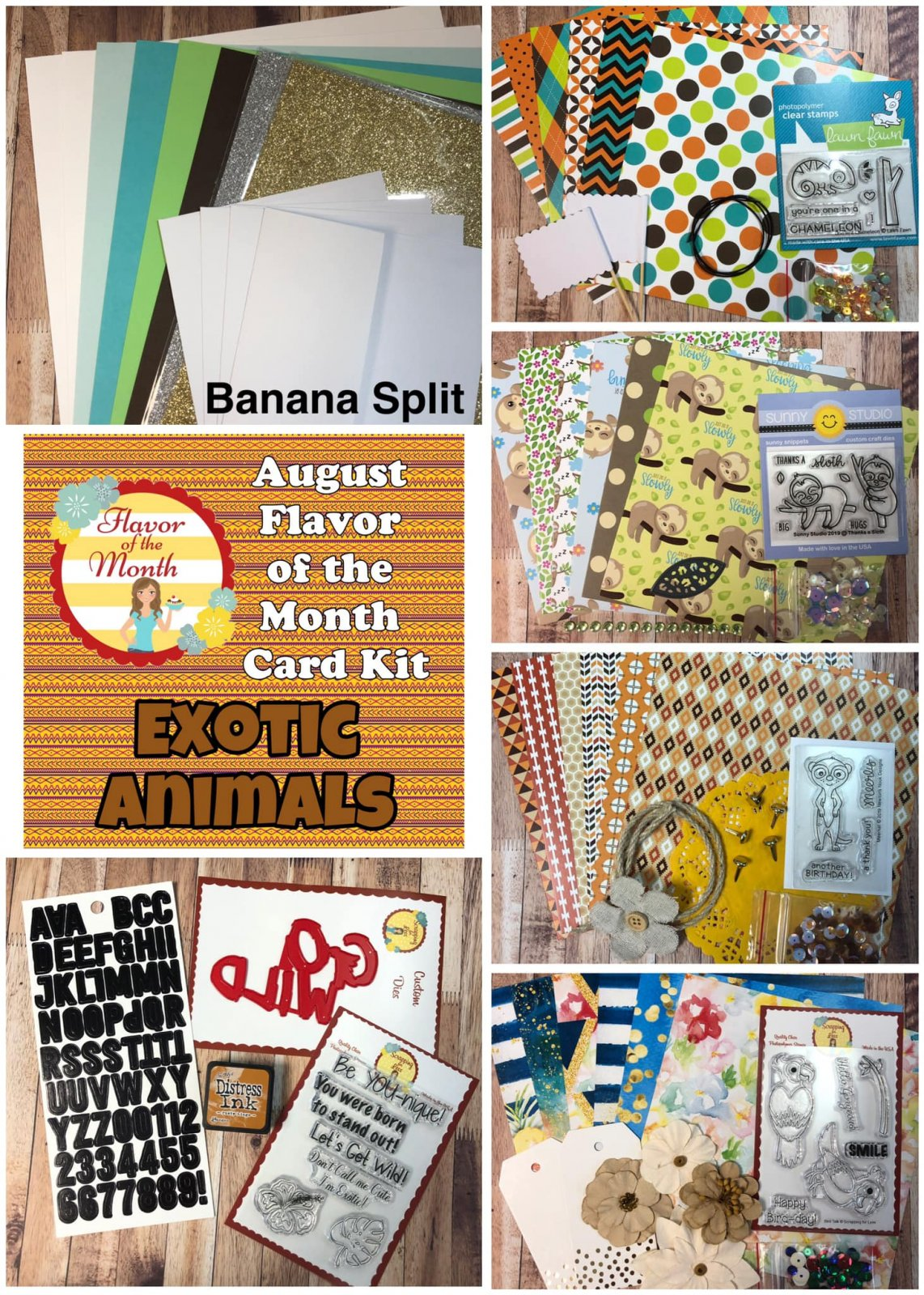 August Banana Split Flavor of the Month Exotic Animals