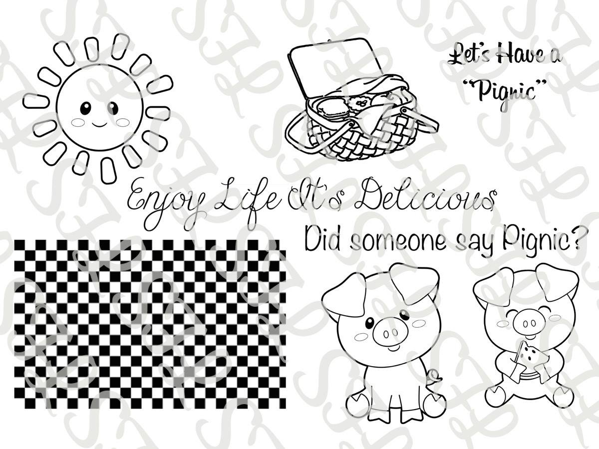 Scrapping for Less Clear Stamps Piggy Picnic