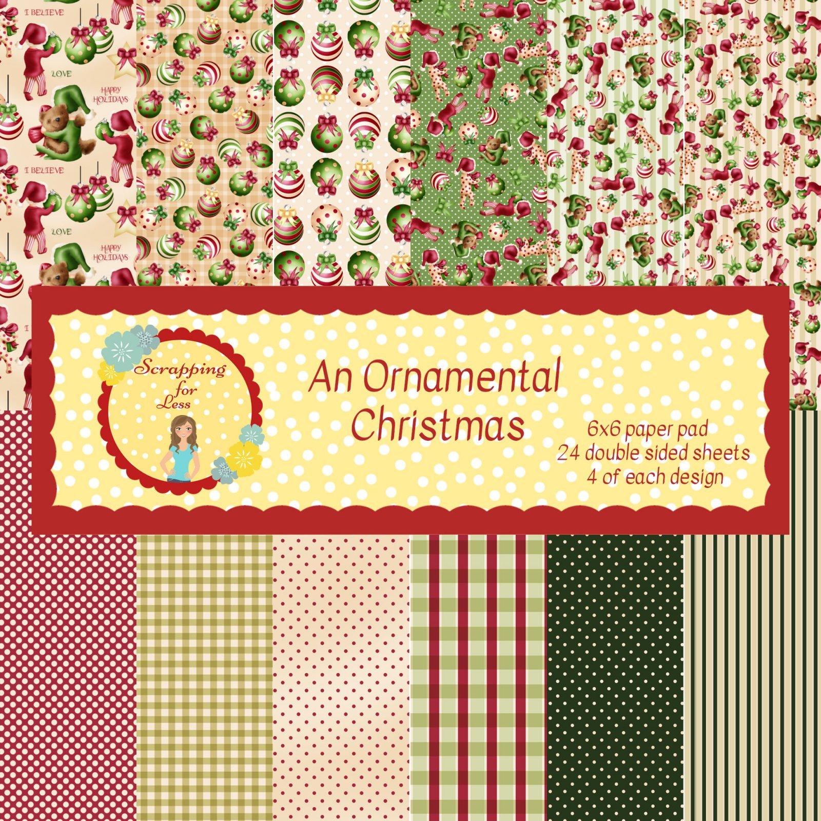 Scrapping for Less An Ornamental Christmas 6x6 Paper Pad