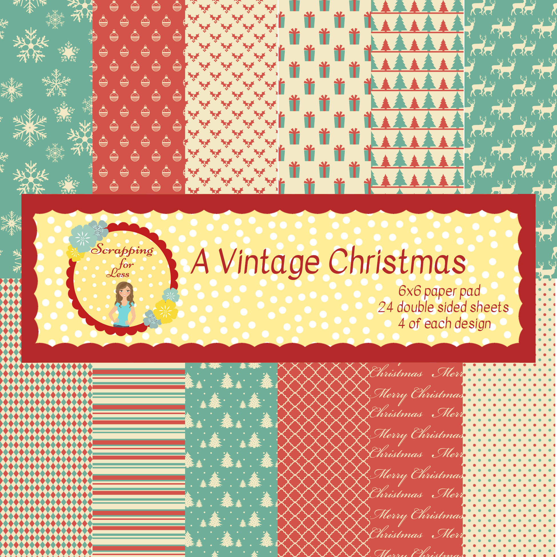 Scrapping for Less A Vintage Christmas 6x6 Paper Pad