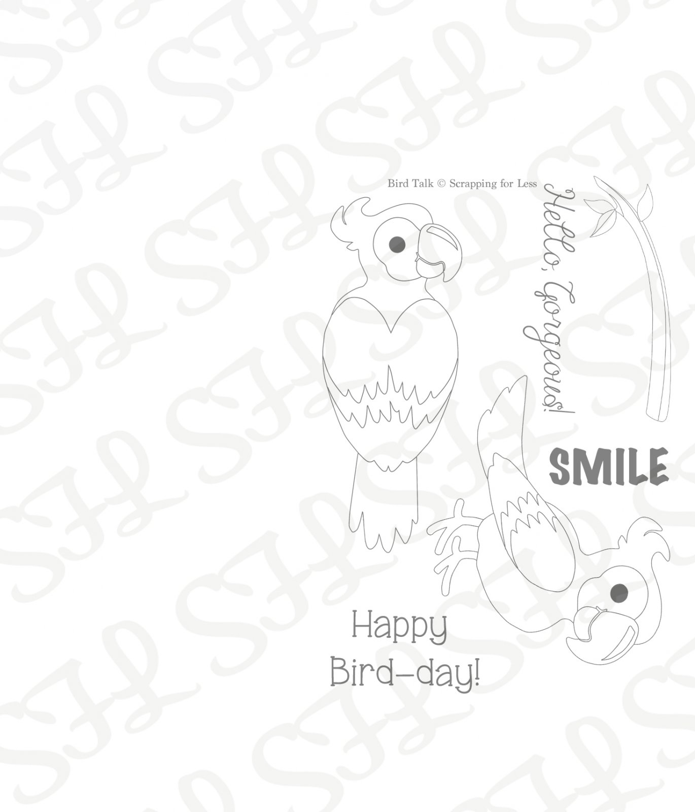Scrapping for Less Clear Stamp 3x4 Bird Talk